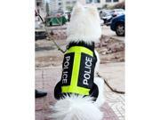 Cool Police Reflective strip Pet Dog Puppy Clothes Apparel costume Riot Vest Mesh summer velcro Black New size L