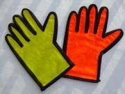 A Pair PVC Gloves for Traffic Guider Police Reflective Security Safety Parking Red Palm Green Back traffic road just like traffic lights Gloves apparel ultra thin summer spring autumn