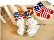 2 Pairs Women women's Lady Girls Fashion Socks in American Flag pattern Cotton cute colorful Socks 4-7.5 good elasticity self-expression