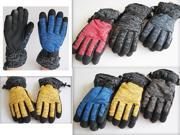 1 Pair Men's Warm Thick Anti-Slip Winter Outdoor Sports Cycling Skiing Gloves Mittens ONE SIZE FITS MOST random color