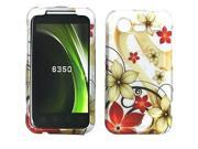 HTC Droid Incredible 2 Rubberized Red & Gold Flowers on Silver Snap-On Protector Faceplate