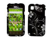 Samsung Galaxy S 4G/SGH-T959V Rubberized White Swirly Flowers w/Butterfly On Black Snap-On Protector Case Faceplate