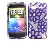 HTC Sensation 4G Purple Lace Flowers Snap-On Protector Case Faceplate