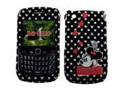 Disney Officially Licensed: Minnie Mouse w/ Pink Glitter Hearts Snap-On Faceplate for BlackBerry Curve 8520/8530