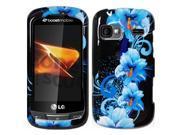 LG Rumor Reflex LN272 (Sprint/Boost) / Xpression C395 (ATT) / Freedom (U.S. Cellular) Black w/Blue Flowers Snap-On Protector Faceplate
