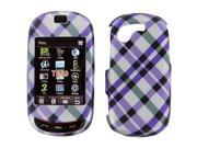 Samsung Gravity T T669 Rubberized Purple Plaid Snap-On Protector Case Faceplate