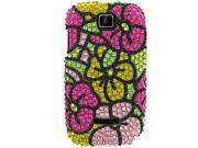 Motorola Theory Full Bling Green w/Hot Pink Hawaii Flowers Snap-On Protector Case Faceplate