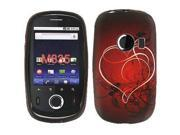 Huawei M835 White Ribbon Heart on Red TPU Silicone Cover
