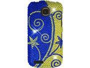 Pantech Marauder (Verizon) Full Bling Blue and Gold Swirl Snap-On Protector Faceplate