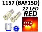 IG Tuning 1157 BAY15D 2357 7528 27-SMD 5050 LED Turn Signal Light Side Marker Dome License Plate Reverse Bulbs (Red)
