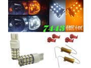 IG Tuning 60-SMD White/Amber Dual Color 7443 7440 7441 7444 T20 Switchback LED Bulbs For Turn Signal, Parking Lights with 50W 6OHM Load Resistors