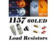 IG Tuning 60-SMD White/Amber Dual Color 1157 7528 2357 Switchback LED Bulbs For Turn Signal Parking Lights with 50W 6OHM LED Load Resistors