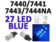 IG Tuning 27-SMD Blue 7440 7441 7443 7444 992A T20 LED Replacement Bulbs Reverse Light, Turn Signal Light, Corner Light, Stop Light, Parking Light, Side Marker Light, Tail Light, and Backup Lights 12V