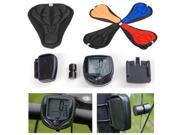 EEEKit Bike Bicycle Cycling 3D Soft Gel Pad Saddle Seat Cover+Wireless Computer