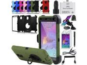EEEKit 10-in-1 Basic Kit for Samsung Galaxy Note 4  ShockProof Heavy Duty Rugged Hybrid Case Cover + Data Cable + Car Mount + Screen Protector + OTG Card Reader + 2 Prts USB Car Charger + Stylus