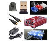 EEEKit for Raspberry Pi B+/2 Model B,Sliced Case Red+Bluetooth Dongle+HDMI Cable