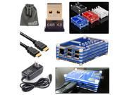 EEEKit for Raspberry Pi B+/2 Model B,Sliced Case Blue+Bluetooth Dongle+HDMI Cable