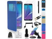 EEEKit 9-in-1 Starter Kit for Samsung Galaxy Note 5, Screen View Flip Stand Case+Film Guard+OTG Card Reader/Cable+Car Suction Mount+USB Car Charger+3.5mm Audio Cable