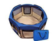 Pet Playpen Blue Exercise Kennel Soft Tent Puppy Dog Crate