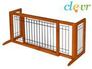 "Clevr 71"" Adjustable Indoor Wood Wooden Pet Fence Gate Free Standing Dog Gate"