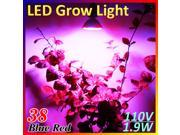 E27 Red Blue 38 LED Bulb Energy Saving Hydroponic Plant Grow Light Lamp  for Garden Greenhouse 110V