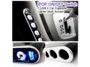 4 Way Car Cigarette Lighter Socket Splitter Charger DC 12V/24V USB LED Light Switch cell phones CD players computers MP3 television TV gaming systems