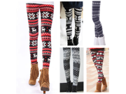 3PCS Lady Reindeers Snowflakes Knit Leggings Tights Stretchy Winter Autumn Pants Gift-Background Red And White Deer