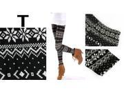 2PCS Lady Snowflakes Knit Leggings Tights Stretchy Winter Autumn Pants Gift-Background Black And White Snowflakes