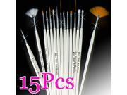 1 PACK (15 PCS)White Nail Art Gel Tips Polish Design Polishing Painting Drawing Dotting Detailing Pen Brush Set Kit