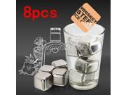 8pcs Stainless Steel Ice Cubes Glacier Rock Drink Freezer gel Whiskey Stones