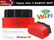 Vgate iCar 3 OBD professional solution WIFI Version ELM327 OBD2 Code Reader iCar3 for Android/ IOS/PC with red color