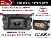 CASKA Car DVD CA371-QC5  In-Dash DVD Player System - 8 Inches Touch Screen 800X480, Windows CE 6.0 Navigation GPS with Free Sygic Map - for TOYOTA RAV4 2013-2014 OEM Standard Car