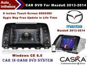 CASKA Car DVD CA285-QA8 In-Dash DVD Player System - 8 Inches Touch Screen 800X480, Windows CE 6.0 Navigation with Free Sygic Map - for Mazda6 2013-2014 OEM Standard Car