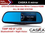 CASKA X Mirror System 720P HD 5 inch LCD GPS + DVR + Rearview Mirror Camera + HDMI + Bluetooth/Wifi Motion Impact Recorder with Dual Swivel Night Vision, 140 Large Angle