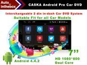 CASKA Interchangeable Universal 2 Din In-Dash Car DVD System - Android 4.4.2 - 7'' HD 1280*800, Dual Core, GPS
