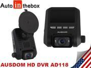 AUSDOM AD118 2.0'' TFT LCD 1080P Full HD Mini Size Car DVR Recorder Camera - Wide Viewing Angle Motion Detection, Night Vision