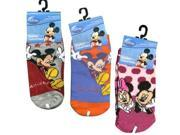 Disney Mickey and Minnie 3-Pack Size 4-6 Ankle Socks Assorted Styles
