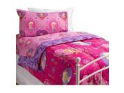 Disney Frozen Pink Purple Elsa Anna Polyester Twin Comforter