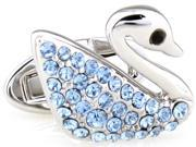 swan design with blue crystal Cufflinks Cuff link with Gift Box