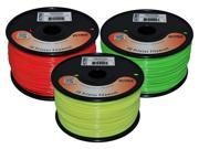 Octave Fluorescent 1.75mm ABS Filament 3 Spool Bundle - Green, Red & Yellow, 1kg 2.2lbs each for Reprap, MakerBot, Afinia and UP! 3D Printer
