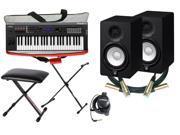 Yamaha MX49 Synthesizer/Workstation Bundle with MX49 Bag, Yamaha RH3C Headphones, 2 Yamaha HS5 Powered Studio Monitors, 2 Cables, Keyboard Bench and X-Style Stand