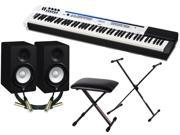 Casio Privia PX-5S Digital Stage Piano Bundle with 2 Yamaha HS5 Studio Monitors, 2 Conquest Sound 10-foot XLR Cables, Stageline X-Style Stand, Padded Bench and Zorro Sounds Polishing Cloth