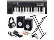 Yamaha MX49 Synthesizer Studio Bundle with Monitor Speakers, Stand, Headphones and Sustain Pedal