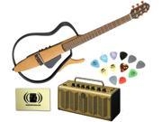 Yamaha SLG110S Steel String Silent Guitar Bundle with Yamaha THR5A Desktop Acoustic Amp, Sampler Pick Pack and Polishing Cloth