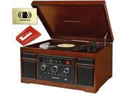 Crosley CR7007A-MA Patriarch Mahogany Entertainment Center Music Lover Bundle with Diamond Stylus Replacement Needle and Polishing Cloth