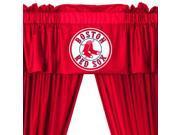 MLB Boston Red Sox 5pc Long Curtains-Drapes Valance Set