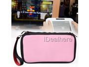 Pink Shockproof Protective Zip Case Bag for Nintendo Wii U Console