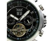 ESS Men's Black Tourbillon Design Date Leather Automatic Mechanical Man Mens Wrist Watch WM181