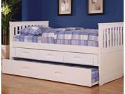 Discovery World Furniture White Twin Rake Bed With 6 Drawer Storage (6 on ONE side)