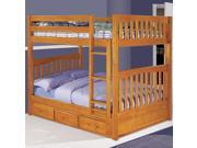 Discovery World Furniture Honey Bunk Bed Full/Full Mission with 3 Drawers on Each Side